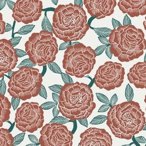 roses fabric - woodcut rose fabric, linocut roses fabric, baby girl nursery, valentines day - dark red