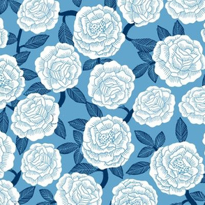 roses fabric - woodcut rose fabric, linocut roses fabric, baby girl nursery, valentines day - light blue