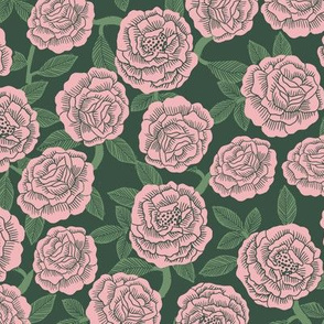 roses fabric - woodcut rose fabric, linocut roses fabric, baby girl nursery, valentines day - dark green