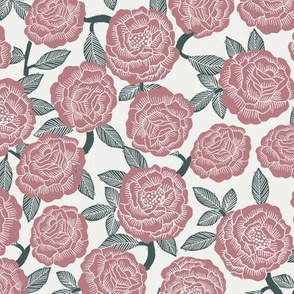 roses fabric - woodcut rose fabric, linocut roses fabric, baby girl nursery, valentines day - vintage