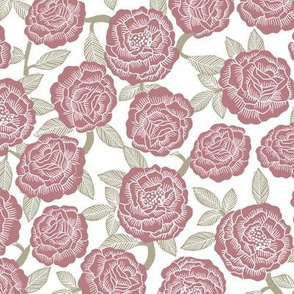 roses fabric - woodcut rose fabric, linocut roses fabric, baby girl nursery, valentines day - mauve