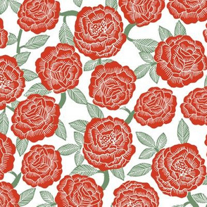 roses fabric - woodcut rose fabric, linocut roses fabric, baby girl nursery, valentines day - red