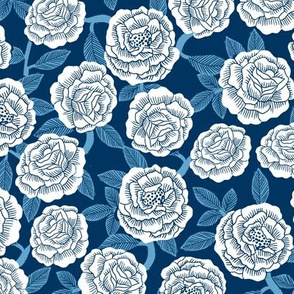 roses fabric - woodcut rose fabric, linocut roses fabric, baby girl nursery, valentines day - blue