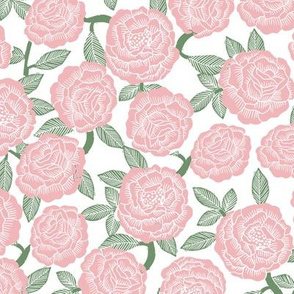 roses fabric - woodcut rose fabric, linocut roses fabric, baby girl nursery, valentines day -pink
