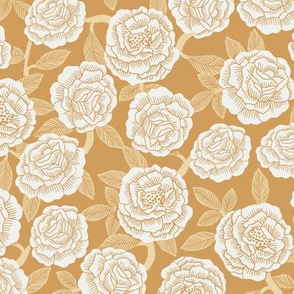 roses fabric - woodcut rose fabric, linocut roses fabric, baby girl nursery, valentines day - yellow