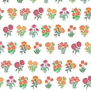 wildflower chart - wildflowers, floral wallpaper, woodcut wallpaper, linocut wallpaper, wildflower paper - orange and pink