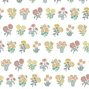 wildflower chart - wildflowers, floral wallpaper, woodcut wallpaper, linocut wallpaper, wildflower paper -  muted