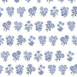 wildflower chart - wildflowers, floral wallpaper, woodcut wallpaper, linocut wallpaper, wildflower paper - blue