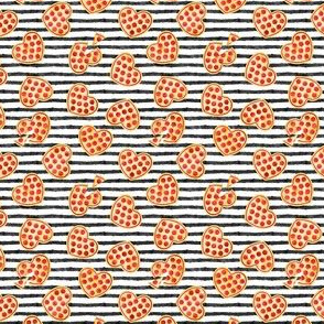 (extra small scale) heart shaped pizza - valentines day - black stripes C19BS