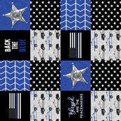 """(9"""" scale) Police Patchwork (star badge) - Blessed are the peacemakers - thin blue line - back the blue wholecloth (90) C19BS"""