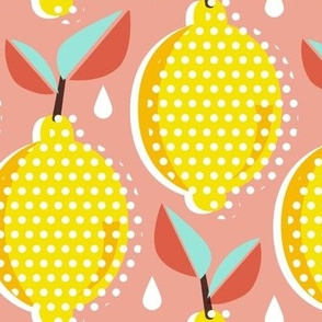 Lemon Fresh - Blush Large Scale Pop Art Summer Fruit
