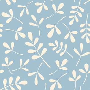 Assorted Leaves Lg Pattern Cream on Blue