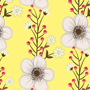 White Flowers and Red Berries on Soft Yellow Background Floral Design