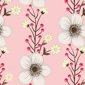 White Flowers and Red Berries on Soft Pink Background Floral Design