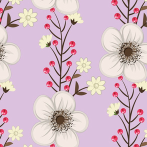 White Flowers and Red Berries on Lavender Background Floral Design