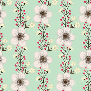White Flowers and Red Berries on Mint Green Background Floral Design