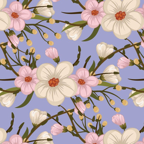Cherry Blossoms Pink and White on Light Blue Background Floral Design