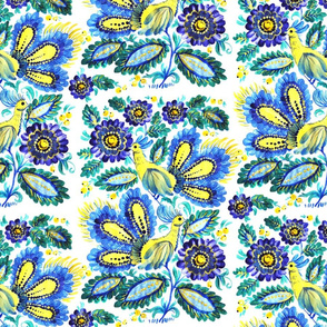Surface seamless pattern with folk art ornament of fantasy flowers and birds. Hand drawn illustration