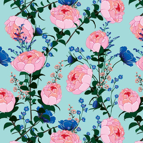 Pink Peonies and Perwinkle Flowers on Light Turquoise Background Floral Design