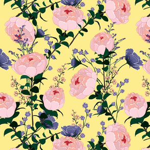 Pink Peonies and Perwinkle Flowers on Light Yellow Background Floral Design