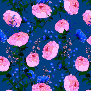 Pink Peonies and Perwinkle Flowers on Dark Blue Background Floral Design