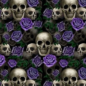 Skulls and purple roses SMALL