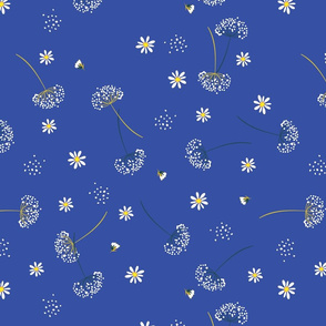 Daisys and Dandelions on Medium Blue Background Floral Design