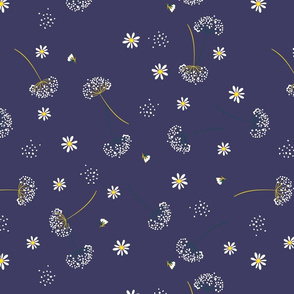 Daisys and Dandelions on Dark Blue Background Floral Design