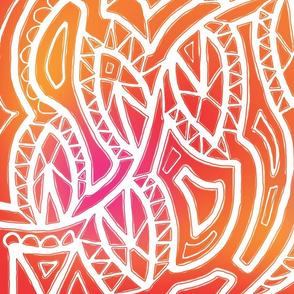 Tribal White Pattern on Warm Background