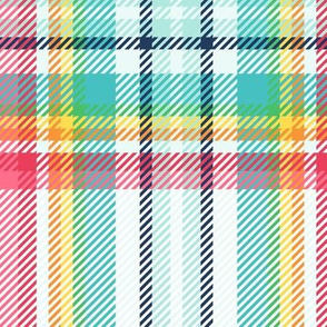 "JUMBO rainbow tartan style 1 with 12"" repeat - goes with it's my birthday"
