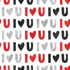 (small scale) I love you - multi - valentines love - red black grey - LAD19BS