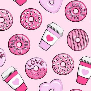"""(1.5"""" scale) donuts and coffee - valentines day - pink on pink C19BS"""