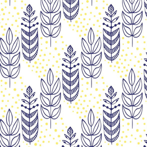 Botanical Ethnic Designs in Dark Blue with Yellow Accents Nature Look