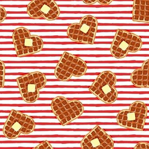 (small scale) heart shaped waffles - red stripes - valentines food - LAD19BS