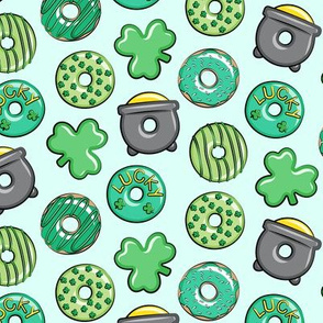"(1.5"" scale) Saint Patricks Day Donuts - green on mint C19BS"