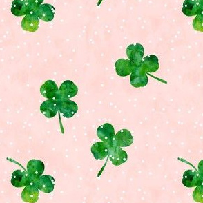 "(1.5"" scale) four leaf clovers - pink scatter dot - LAD19BS"
