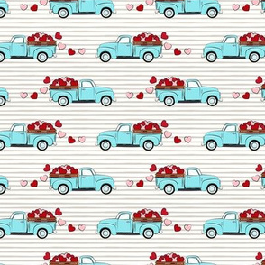 """(2"""" wide) light blue vintage truck with hearts - valentines day - grey stripes C19BS"""
