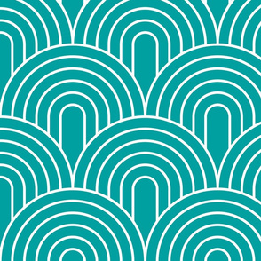 Art Deco Stacked Arches in White on Teal Background