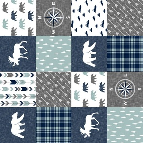 Happy Camper / compass - bear and moose - navy and dusty blue (90)