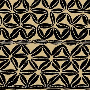 South Seas Tribal Tapa - Tan Black