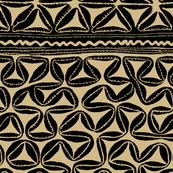 Oceanic Tapa Design - Tan Black
