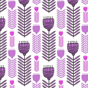 Fun Funky Flowers in Purples Floral Design