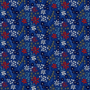 Classic Blue and Red Floral