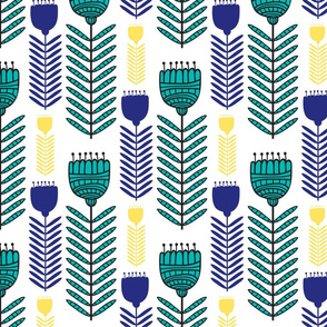 Fun Funky Flowers in Teal, Yellow and Dark Blue Floral Design