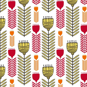 Fun Funky Flowers in Yellow, Red and Orange Floral Design