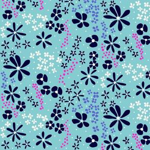 Dark Floral on Blue