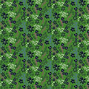 Dark Floral on Green