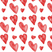 Valentine Watercolor Hearts - Red
