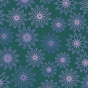 Geometric flower in  green (bayberry) pink (Lila sachet) and classic blue