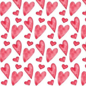 Valentine Watercolor Hearts - Red/Pink